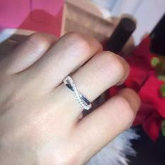 Perak Berlapis Platinum Ukiran Huruf Miniatur Cincin Berlian Cincin Kawin