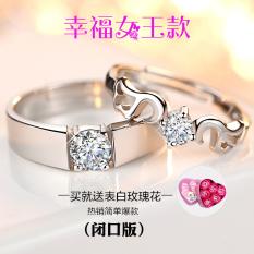 Perak simulasi cincin berlian cincin Couple