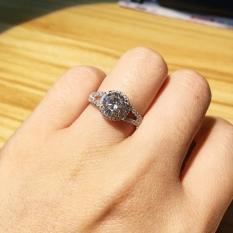 Perempuan Perak Platinum 1 Kt Berlian Kawin Miniatur Cincin Berlian