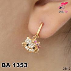 Perhiasan Anting Hello Kitty Permata Zircon Gold Lapis Emas A 1353