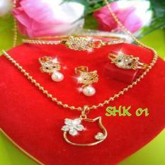 Perhiasan Hello Kitty Dewasa Set Lapis Emas Hadiah Anak Remaja SHK01