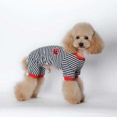Jual Beli Pet Kartun Striped Katun Piyama Anjing Jumpsuit L Hitam Intl Tiongkok