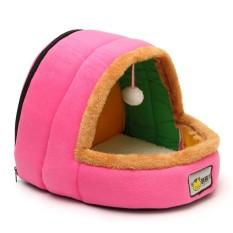 Hewan Peliharaan Kucing Anjing Sarang Tempat Tidur Rumah Hangat Lembut Sleeping Mat Cushion Bola Mainan Pink