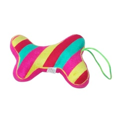 Hewan Peliharaan Kucing Anjing Toy Bone Boneka (pelangi Stripes)-Intl