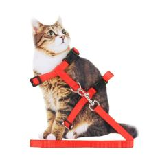 Kucing Peliharaan Kelinci Tahan Lama Nilon Outdoor Kerah Dada Strap Traksi Harness (merah)-Intl By Welcomehome.
