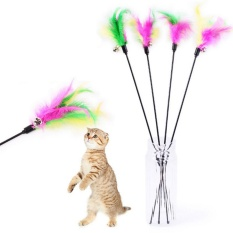 "Pet Cat Toy Cute Desain Burung Bulu Teaser Wand Mainan Plastik With Bell For Kucing Berwarna-warni Panjang Keseluruhan"": Perkiraan. 65 Cm/25 Inch-Intl"