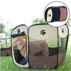 Spesifikasi Pet Dog Bed Kennel Play Pen Soft Playpen Cage Folding Crate Brown Ukuran L