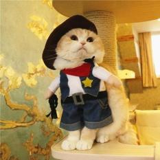 PET anjing kucing Halloween kostum lucu lucu berdandan Perapi Natal Pesta pakaian koboi M