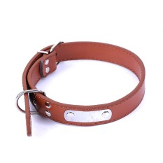 Pet Dog Collar Buckle Candy Warna PU Kulit Kerah Tali Leher Warna: Coklat Ukuran: M-Intl
