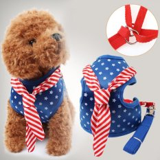 Pet Dog Harness Vest Rope Star Militer Uniformchest Strap Set Kalung Memimpin Biru M Intl Tiongkok