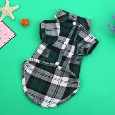 Pet Dog Plaid Stripe Kemeja Pakaian Musim Semi dan Musim Panas Pakaian Jaket Mantel-Intl