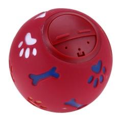 Pet Anjing Memperlakukan Latihan Chew Suara Makanan Dispenser Mainan Berderit Tawa Bola (Merah)-7,5 Cm
