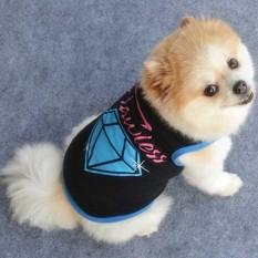 Anjing Peliharaan Rompi Musim Panas Tank T Shirt Lucu Anjing Hitam Dan Biru Diamond Gaya Anjing Kecil Pakaian Xs-Intl By A Pop Store.