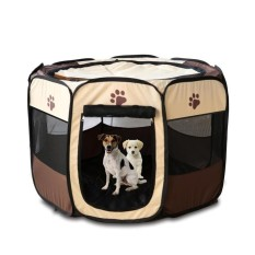 Pet Rumah Pagar Dog Bed Kennel Play Pen Puppy Soft Playpen Latihan Run Cage Folding Crate Coffee & Nbsp; -Intl