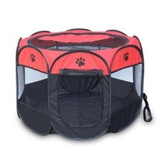 Pet Rumah Pagar Dog Bed Kennel Play Pen Puppy Soft Playpen Latihan Run Cage Folding Crate Merah & Nbsp; -Intl