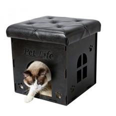 Peliharaan Kehidupan FN1BKMD Lipat Kitty Kucing Rumah Furniture Ottoman Bench Wood dengan Bantal Kulit, Satu Ukuran, hitam-Internasional