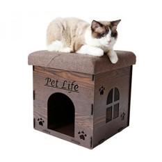 Peliharaan Kehidupan Kitty Kallapse Dilipat Lipat Kitty Kucing Rumah Tempat Tidur Pohon Ottoman Bench Furniture, Satu Ukuran, kayu Gelap-Internasional