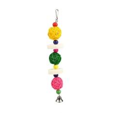 PET PET Bird Colorful Rotan Bola String Gantung Mainan Mengunyah Swing Cage Fun Akses-Intl