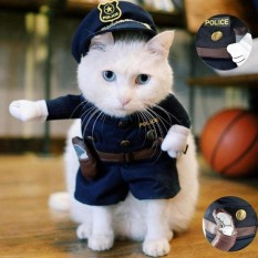 Pet Polisi Pet Dog Cat Costume Jeans Pakaian Lucu Apperal 2 Nbsp Intl Asli