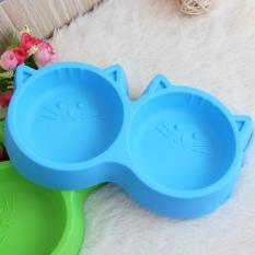 Pet Produk Plastik Cat Wajah PET Bowl Perlindungan Lingkungan Kamar Bebas Racun Makanan Anjing Double Bowl Tableware PET FeedingTool- INTL