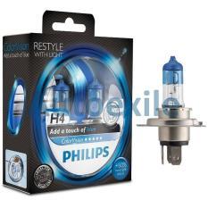 Philips Color Vision Blue H4 12V 60/55W 3350K ColorVision Biru - Lampu Depan Motor Mobil