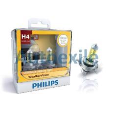 Philips Weather Vision H4 12V 60/55W 2900K Kuning WeatherVision - Lampu Depan Motor Mobil