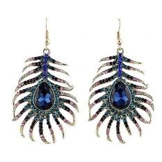 Spek Phoenix B2C 1 Pair Women Retro Berlian Imitasi Merak Bulu Bentuk Laporan Hook Dangle Earrings Intl Tiongkok