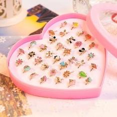 Phoenix B2C 2 PCS Anak Anak-anak Gadis Adjustable Cute Pola Cincin Perhiasan Hadiah Pesta-Intl