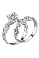 Phoenix B2C 2 Pcs Wanita 925 Sterling Rhinestone Berlapis Perak Cincin Pernikahan Set (US 7)