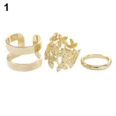 Phoenix B2C 3 Pcs Daun Midi Jari Cincin Set Perak Gold Stack Di Atas Buku Tali