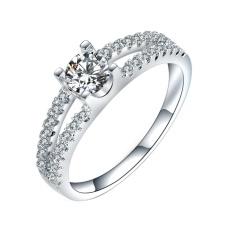 Phoenix B2C Elegan Bridal Pertunangan Hollow Mengkilap Cubic Zirconia CZ Cincin Berlapis Emas Putih 17mm (Silver) -Intl