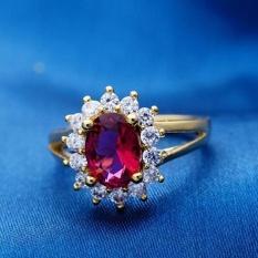 Phoenix B2C Elegan Pengantin Pernikahan Pertunangan Oval Mengkilap Rhinestone Jari Cincin Perhiasan (Merah)-