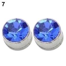 Phoenix B2C Pria Wanita Round Kesehatan Pierce Ear STUDS Kuat Besi Magnetik Earbud Earrings (Biru Tua)-Intl