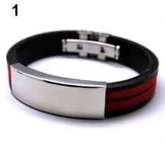 Phoenix B2C Kasual Fesyen Pria Stainless Steel Karet ID Gelang Bangle Hadiah Perhiasan (Merah)