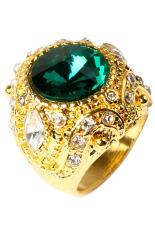 Phoenix B2C Pria Mewah Besar Resin Crown Paduan Berlapis Emas Cincin Perhiasan (Hijau)