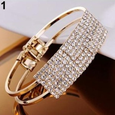 Phoenix B2C New Fashion Elegant Wanita Bangle Gelang Gelang Crystal Cuff Bling Lady Hadiah (GOLDEN)-Intl