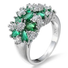 Phoenix B2C Women Fashion 925 Sterling Silver Plated Rhinestone Wedding Knuckle Finger Ring 6 (Green) - intl