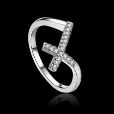 Phoenix B2C Women Fashion Cross Desain Mengkilap Zircon Jari Cincin Perhiasan Pernikahan Partai Hadiah U.S. 7