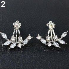 Phoenix B2C Mode untuk Wanita Desain Daun Mengkilap Paku Permata Buatan Anting-Anting Perhiasan Hadiah