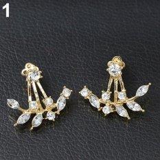 Phoenix B2C Mode untuk Wanita Desain Daun Mengkilap Paku Permata Buatan Anting-Anting Perhiasan Natal