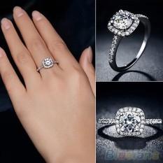 Phoenix B2C Wanita 9 K Pertunangan Rhinestone Zirkon Berlapis Emas Putih Pernikahan Perhiasan Cincin U.S. 10-Intl