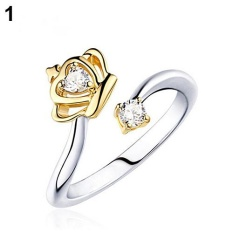 Phoenix B2C Wanita Gaya Ratu Putri Terbuka Zirkon Mahkota Cincin Hadiah Perhiasan Bangsawan Mulia (GOLDEN)-Intl