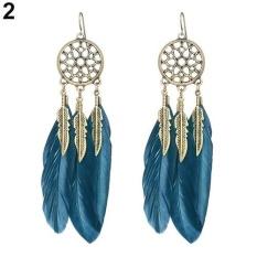 Phoenix B2C Wanita Gaya Bohemia Vintage Bulu Daun DROP Anting-anting Menjuntai Perhiasan Hadiah (