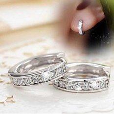 Phoenix B2C Fashion Fashion Rhinestone Platinum Berlapis Giwang Telinga Hoop Earrings Perhiasan-Intl