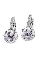Phoenix B2C Wanita Perhiasan Hadiah 9 K Emas Besar Berlapis Zirkon Berlian Imitasi Huggie Anting (Clear)