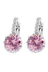 Phoenix B2C Wanita Perhiasan Hadiah 9 K Emas Besar Berlapis Zirkon Berlian Imitasi Huggie Anting (Pink)