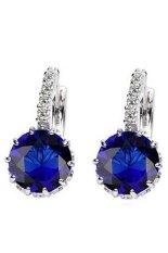 Phoenix B2C Wanita Perhiasan Hadiah 9 K Emas Besar Berlapis Zirkon Berlian Imitasi Huggie Anting (Royal Blue)