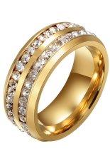 Phoenix B2C Womens Mens Double Baris Rhinestones Titanium Baja Pernikahan Perhiasan Cincin (Emas)