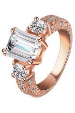 Phoenix B2C Wanita Pria Zircon Cincin Pernyataan Alloy Band Wedding Jewelry (Rose Emas + Transparan)