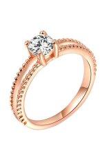 Phoenix B2C Wanita Pesta Pernikahan Pertunangan Zirkon Berkilau 9 K Rose Emas Plated Cincin Perhiasan (Rose Gold)